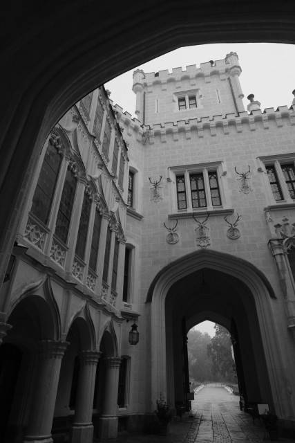 中庭から門
