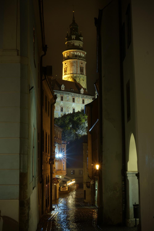 ラドニチュニー通りからチェスキー・クルムロフ城を眺める