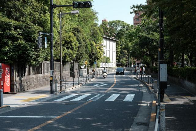 この先の茂みは、富岡八幡宮だ。