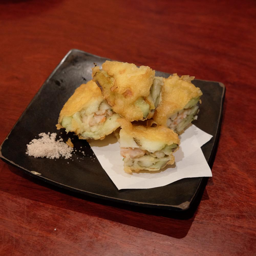 太郎屋 加茂茄子の海老のはさみ揚げ
